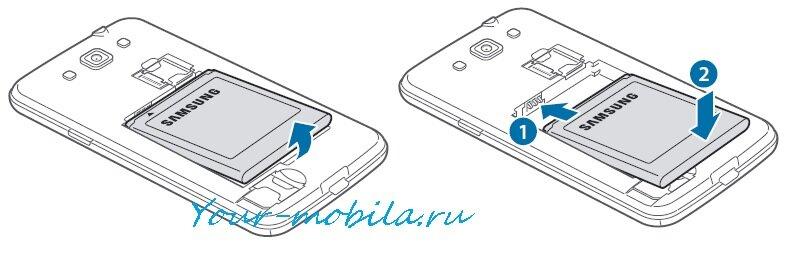 Samsung GT-I8552 Galaxy Win снятие аккумулятора, сброс настроек